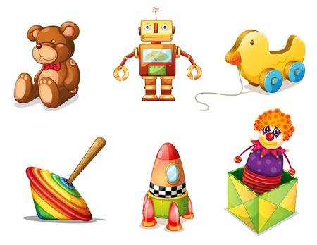 illustratie van de verschillende speelgoed op een witte achtergrond Vector Illustratie