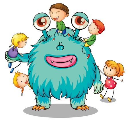 atrocious: illustration of kids playing with monster on white