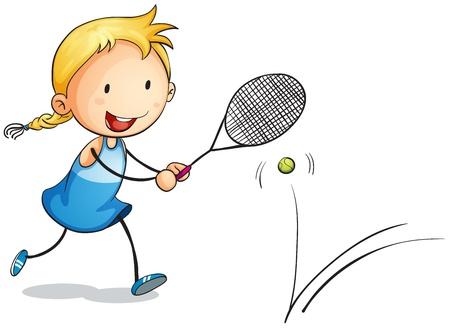 tennis racket: Ilustración de una niña jugando tenis sobre un fondo blanco