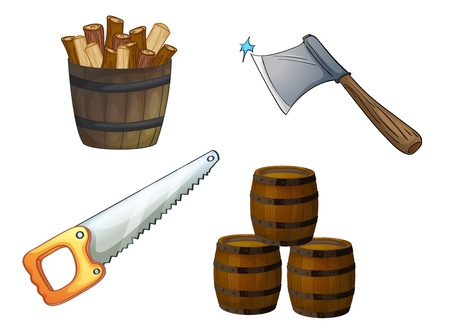 carpentry cartoon: illustration of various objects on a white background Illustration