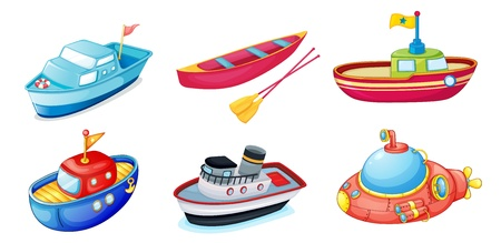 cartoon submarine: illustration of various ships on a white background Illustration