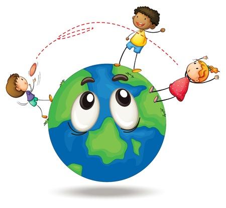 planeta tierra feliz: ilustración de niños jugando en un disco volador globo de la tierra