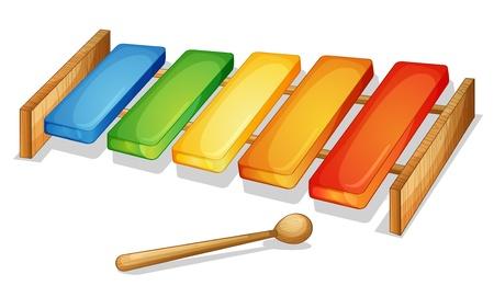xylophone: Ilustraci�n de xil�fono sobre un fondo blanco