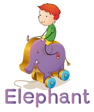 cartoon words: illustration of a boy on a toy elephant on white
