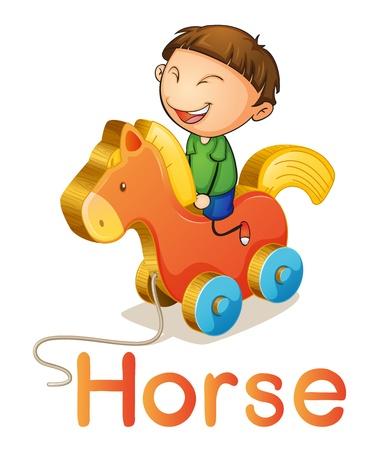 pull toy: ilustraci�n de un muchacho en un caballo de juguete en blanco