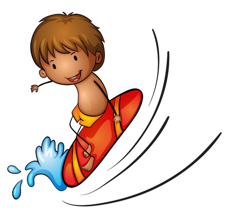 illustration of boy and surfing on a  white background Vector