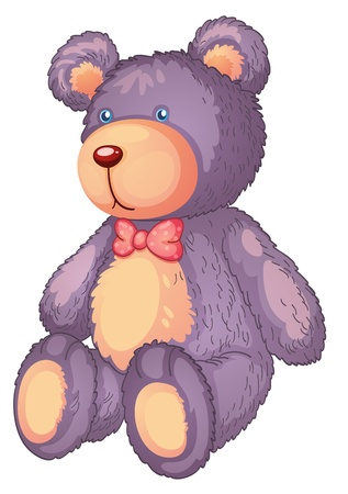 soft toy: illustration of a teddy bear on a white background Illustration