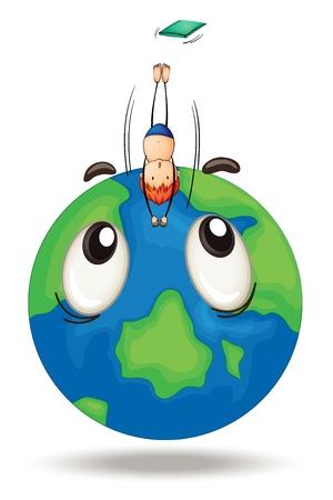 springboard: Ilustración de un salto chico en un globo terráqueo sobre fondo blanco
