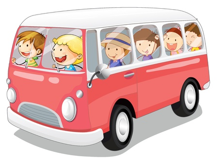 illustration of a bus and kids in a white background Vector