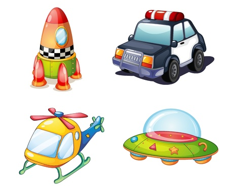 flying saucer: illustration of various objects on white background Illustration