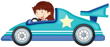 personne seule: illustration d'une jeune fille conduisant une voiture sur un fond blanc Illustration