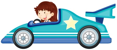 open car: illustration of girl driving a car on a white background