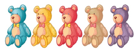 five: illustration of teddy bears on a white background