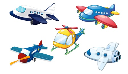 airplane cartoon: illustration of various air planes on a white background
