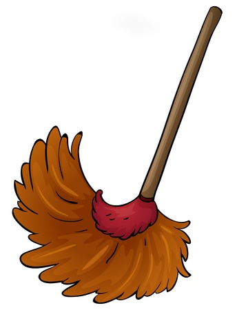 cleaning cloth: illustration of a broom on a white background Illustration