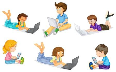 using laptop: illustrazione di un bambini con il computer portatile su uno sfondo bianco
