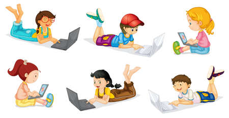 girl laptop: illustration of a laptops and kids on a white background