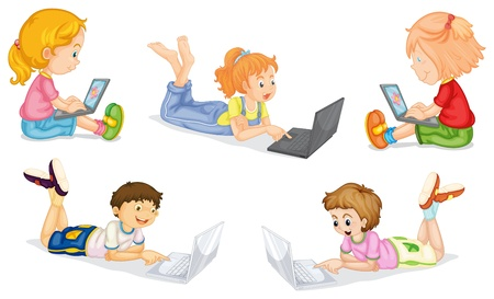 golden hair: illustration of kids with laptop on a white