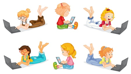 illustration of a laptops and girls on a white background Stock Vector - 15250140
