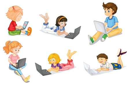 illustration of kids with laptop on a white Vector