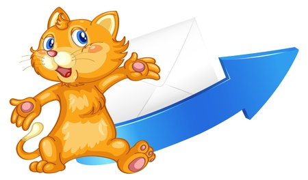 baby picture: illustration of a cat arrow and envelop on a white