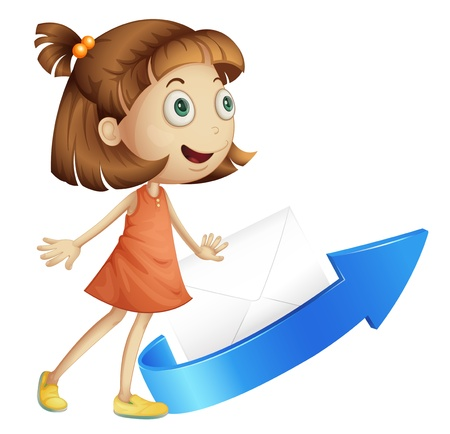 illustration of a girl with arrow and envelop on white Stock Vector - 15249982