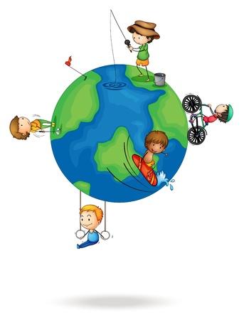 planeta tierra feliz: ilustración de los cabritos en el planeta tierra sobre un fondo blanco Vectores