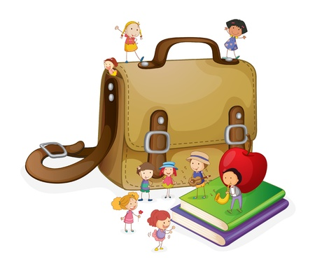 kids eating healthy: illustration of kids and bag on a white background Illustration
