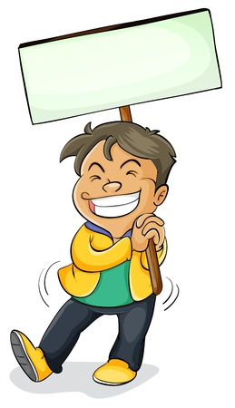 illustration of a boy holding a board on a white Vector