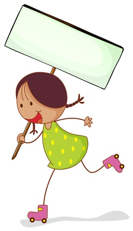 little skate: illustration of a girl with sign board on a white