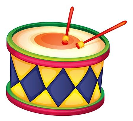 illustratie van een kleurrijke trommel op een witte Stock Illustratie