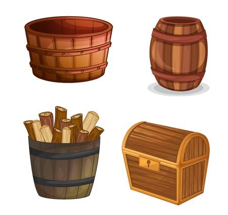 group of objects: illustratie van diverse houten voorwerpen op een witte achtergrond