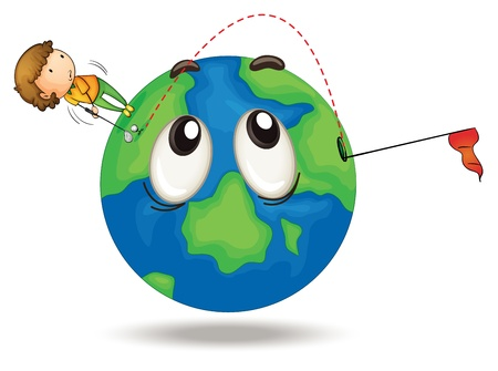 illustration of a boy playing golf on a earth globe Vector