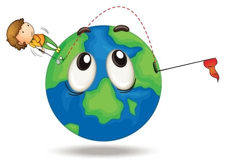 golf stick: ilustraci�n de un ni�o jugando al golf en un globo de la tierra