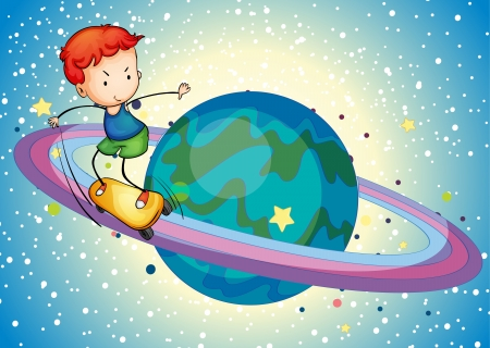 cartoon surfing: illustration of a boy on a planet saturn ring