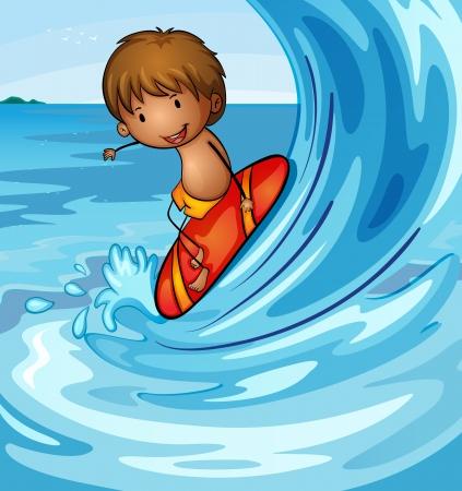 marine bird: Ilustraci�n de un muchacho que practica surf en el mar
