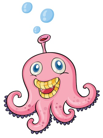 illustration of a pink octopus on white bakground Vector