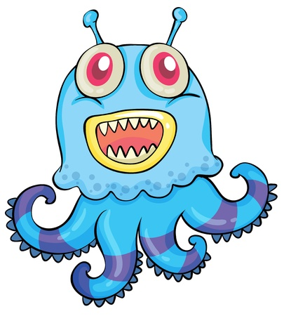 cartoon alien: illustration of a scary monster on a white background