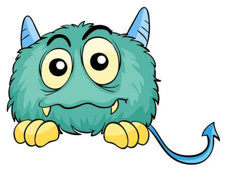 monstrous: illustrazione di un mostro spaventoso su uno sfondo bianco Vettoriali