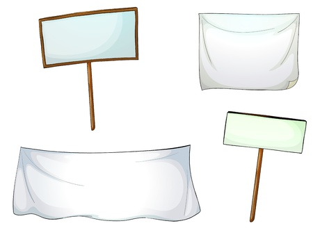 casing: illustration of  white boards and cloths on a white background
