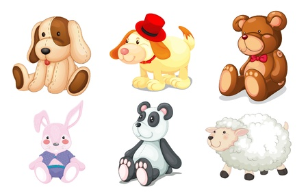stuffed animals: illustration of various toys on a white background