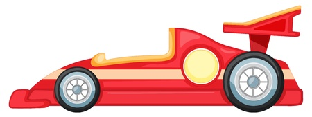 formula one: illustration of red car on a white background Illustration