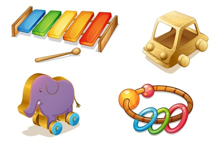 xylophone: illustration of various objects on a white background Illustration