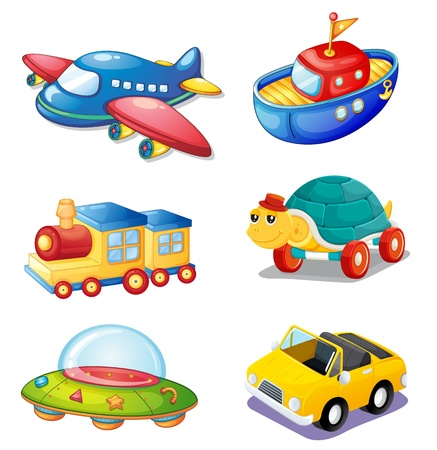 train cartoon: illustration of various objects on a white background Illustration