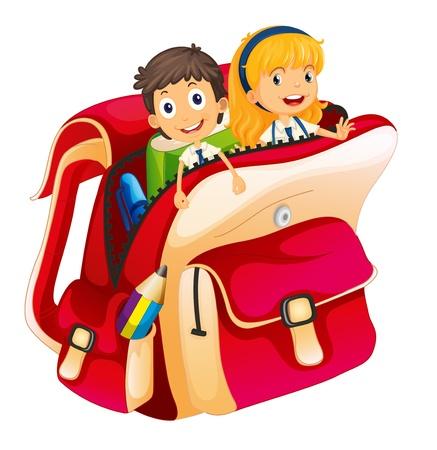 dessin enfants: illustration des enfants dans un sac sur fond blanc