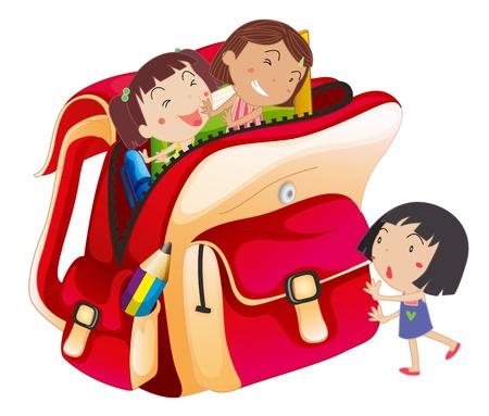pencil cartoon: ilustraci�n de las ni�as y bolso de escuela en un fondo blanco