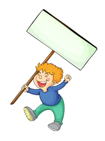 full pant: illustration of a boy holding white board in a white