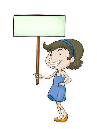 child holding sign: illustration of a girl with sign board on a white