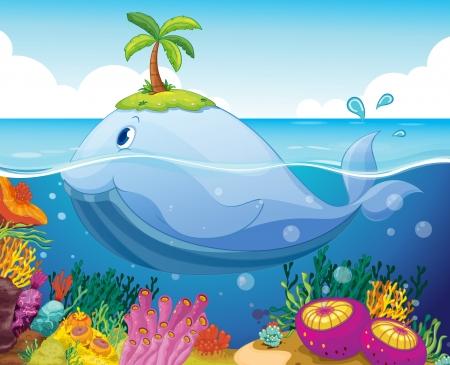 illustraion van een vis, eiland en koraal in de zee