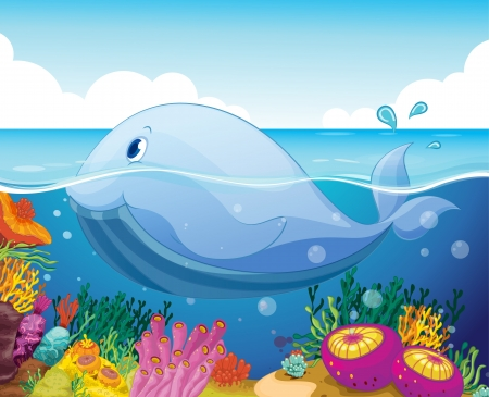 illustration of a fish and coral in the sea Vector